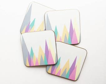 Set of Four Geometric Mountain Coasters With Rounded Corners - Pastel Peaks