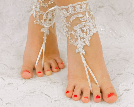 Beach wedding shoes, Barefoot sandals, France Lace Anklet, Lace Wedding Shoes, Wedding Barefoot Sandals, Beach Shoes, Beach Sandals