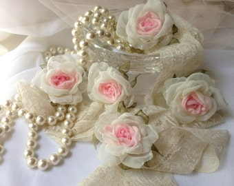 Pale pink  5 chiffon rose, handmade, beautiful, look like real, head bands, pins, for craft projects, flower girl. decor,fabric flower