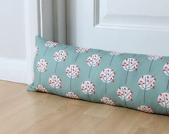 Draught Excluder Moonlight Tree Pattern Sea Green Fabric Scandinavian Print Door Draught Stopper Window Scandi Home