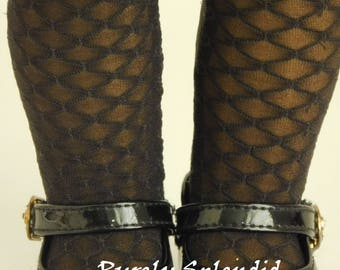Sheer Black Diamond Tights for 18 inch Girl Doll, American Made Perfect Fit Halloween Hose, Fish Net stockings, Steampunk or Goth costume
