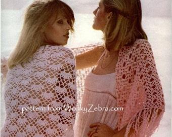 Two Vintage Crochet SHAWLS Patterns PDF 698 from WonkyZebra