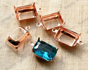 14x10 Rose Gold Octagon Open Back Prong Settings 1 Ring or 2 Ring - 6pcs