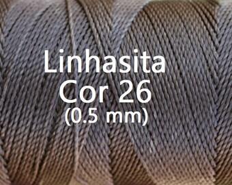 Linhasita (0.5 mm) Natural Brown cor 26 Waxed Polyester Macrame Beading Cord Durable/ Hilo