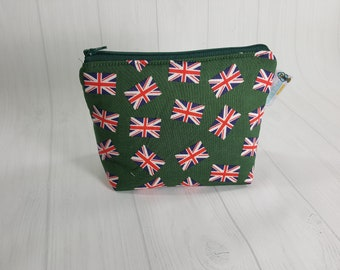 Union Jack British Flag on Green, Zipper Notions Pouch, Mini Zippered Wedge Bag, Craft Pouch NP0058