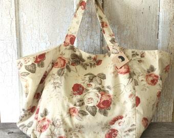 Spring Market Bag - Oversized Shoulder Bag - Shopping Tote - Rose Print  - Super Large Tote Bag -