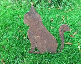 Big Cat Rusty / Patina, Mild Steel Metal Garden / Yard / Pond Art, Ornaments