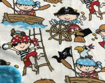 Minky Blanket Pirates Print Minky with Turquoise Dimple Dot Minky Backing - Great Gift for a Baby or Toddler