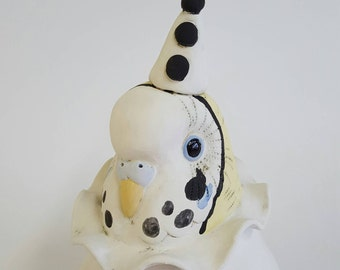 Coco-  mini ceramic sculpture of budgie as a clown
