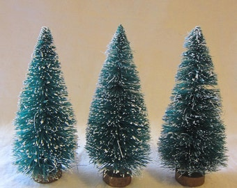 3 miniature bottle brush trees - 4.25 inches - green, flocked, sisal - ms4