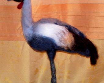 Crane Bird Figurine, Gray Crowned Crane, OOAK Bird, Softsculpture Needle felted