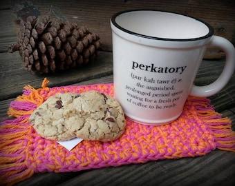 Crocheted Mug Rug, Coaster, Crocheted Coaster, Table Saver, Drink Coaster, Home Decor, Beer Rug, Breakfast/snack mat
