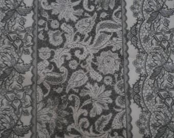26 * 110 cm grey printed cotton fabric