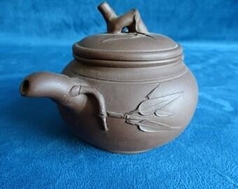 Yixing teapot with bamboo motif-China-2nd half 20th century