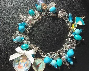 Dangle charm bracelet adjustable lobster clasp