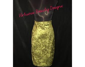 Crush velvet high waist pencil skirt