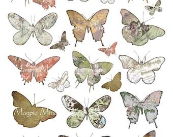 Feuille de Collage numérique de Silhouettes papillon - teinté vieilli papillon coupée Outs - téléchargement immédiat - imprimable