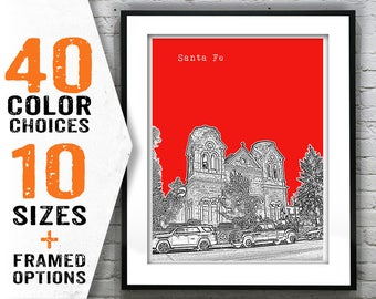 20% OFF Memorial Day Sale - Santa Fe New Mexico Skyline Art Print Poster NM Item T1399