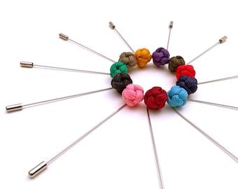 Mens lapel pin, mens boutonniere, knot lapel pin, knot boutonniere, nautical lapel pin, nautical boutonniere, groom lapel pin.