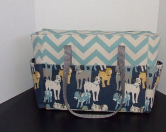Tote/Diaper bag in Aqua Chevron with Puppy Dog Trim  (Monogramming additional charge)