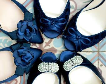 Navy blue Wedding Shoes- Custom Blue Wedding Shoe - Navy Blue Heels - Navy Blue Flats - Custom Navy Blue Shoes - Bridal Navy Blue Wedding