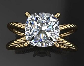 raven ring - 2 carat cushion cut NEO moissanite engagement ring, colorless moissanite