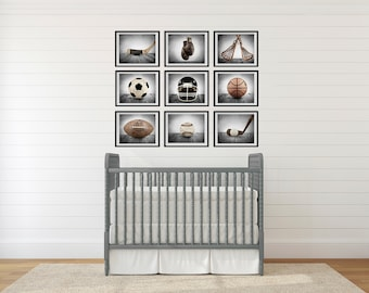 ON SALE The Sports Collection in Grey Tones Set of Nine photo prints, Nursery Decor, Rustic Decor, Vintage Sports Decor, Sports Room,