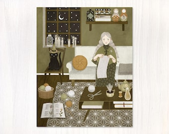 knitting magic postcard