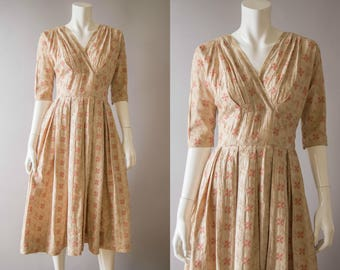 vintage 1950s dress / 50s embroidered cotton dress / extra small