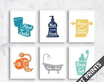 Bath Rules - set of 6 - Art Print (Featured in Ocean, Navy, Honey Wheat, Pumpkin, Grey and Sea Foam) Instructional Bathroom Signs