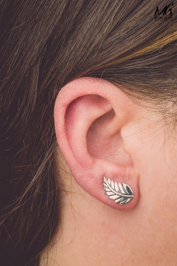 Leaf Ear Climbers - Pair of Sterling Silver Ear Crawler Earrings - Leaves Earrings, Laurel Leaf Earrings, Tree Branch - Unique Ear Pins