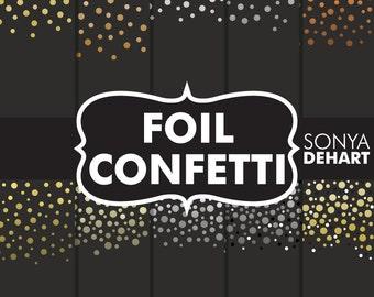 80% OFF SALE Digital Paper Foil Confetti Gold. Silver, Platinum, Copper Commercial use