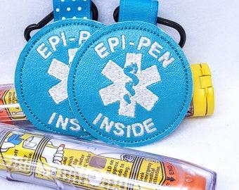 """Medical Alert Tag """"Epi-Pen Inside"""" Label Teal Food Allergy Awareness  Backpack Medical Alert Tag by Alert Wear"""