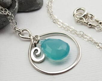 Personalized Infinity Necklace with initial C, Sky Blue Chalcedony Gemstone Necklace, Sterling Silver Infinity Necklace.