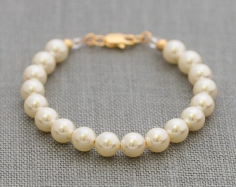 Flower Girl Pearl Bracelet Gold, Junior Bridesmaid Jewelry, Gold Child's Pearl Bracelet, Flower Girl Pearl Jewelry
