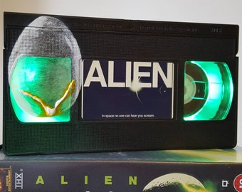 Retro VHS Lamp Alien Scifi Night Light Table Lamp, Horror Movie with Egg design. Order any movie! Great personal gift. Man Cave. Office.
