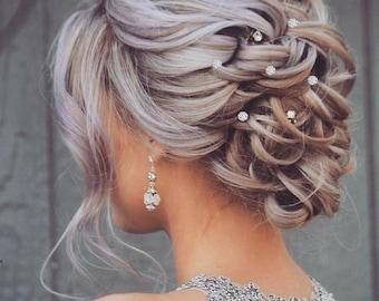 6 Bridal Hair Pins Crystal hair pin wedding Crystal Rhinestone hair pin Crystal hair pins wedding boho crystal hair vine wedding hair pins