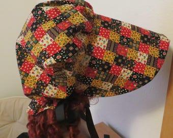 Women's Pioneer Prairie Victorian Civil War Bonnet Sunbonnet Primitive vintage patchwork fabric, trek, historical, hat, reenactment, 1800's