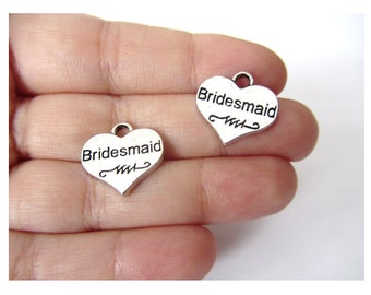 5 pcs Bridesmaid Charms Antiqued Silver (double sided)  17mm x 16mm (BR446)