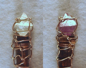 Purple and Green Fluorite Octahedron Crystal Wire Wrapped Wand