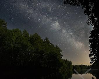 Summer Solstice Milky Way over Cranberry Pond with Moonlit Pines