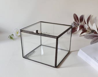 "Glass Box Display Case  4"" x 4"" x 3"", Glass Display Box, Glass Jewelry Box, Gift For Her, Gift For Girlfriend, Gift For Sister"