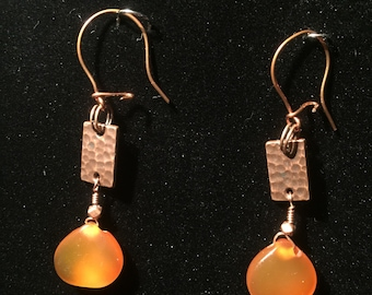 Hammered copper and Carnelian drop earrings