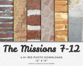THE MISSIONS 7-12 Hi-Res Photo Pattern Backgrounds • Printable Digital Paper Set • Instant Download