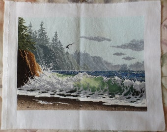Ocean Coast finished cross stitch picture. New (#309)