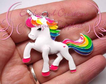"2"" White Rainbow Unicorn, Chunky Pendant, Bookmark, Keychain, Bookmark, Zipper Pull, Chunky Jewelry, Purse Charm, Planner Charm"