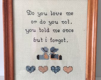 Vintage cross stitch embroidery from 1970's