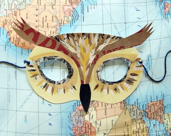 Owl Mask, Paper Animal Mask, Woodland Forest Party or Wedding Favor