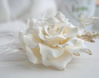 Cream Rose flower Bridal hair flower Wedding hair flower Wedding flower headpiece Bridal lace headpiece Lace hair