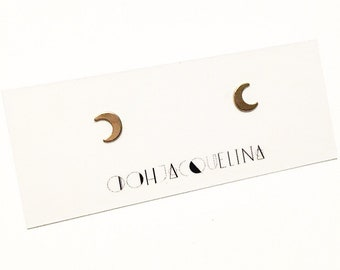 Gold moon stud earrings, Gold crescent moon earrings, moon studs